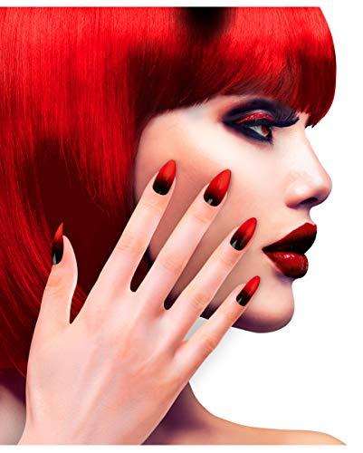 Horror-Shop 12 Stileto Fingernägel Schwarz / Rot selbstklebend als Kostümzubehör (Schwarze Fingerspitzen Halloween)