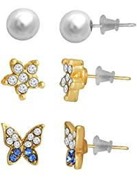 Spargz Alloy Gold Plated Butterfly Flower Multi-Shaped AD Stone Stud 3 Pair Earrings Set For Women AIER 1122