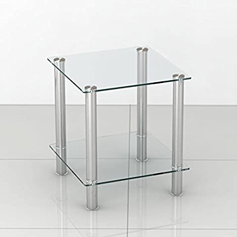 Glass Stainless Steel Small Display Stand or Side Lamp Table
