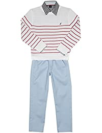 Nautica Boys' Three Piece Set with a Woven Shirt, Sweater and Pants