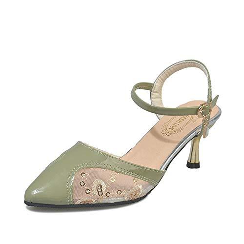 Sandalen weiblichen Baotou Sommer High Heels Fairy Wind Wort Schnalle Stilett gestickte Mesh Damenschuhe grün 36EU -