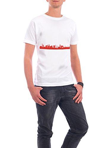 """Design T-Shirt Männer Continental Cotton """"RUHRPOTT 03 Monochrom Tangerine"""" - stylisches Shirt Abstrakt Städte Reise Reise / Länder Architektur von 44spaces Weiß"""