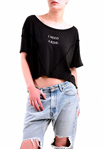 Wildfox Donna I Need A Ride Relaxed Fit Top Tee Nero