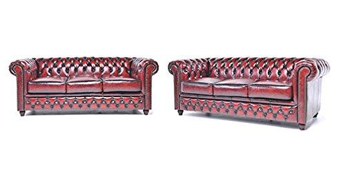 Orignal Chesterfield Sofas – 3 / 3 – Vollständig Handgewaschenes Leder – Antik Rot