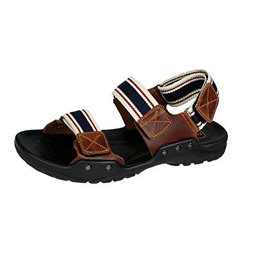 H&W Herren Verdreifachen Klettverschlusss Outdoor Gehen Sandalen Fesselriemen Blau