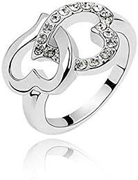 Damenring Ring verflochtene Herzen mit Swarovski Kristall-Elemente-Diamant-weiße Farbe auch availalbe-Kristalle setzen