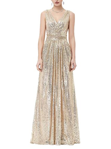 Brinny ärmellos Gold Schwarz Silber Brautjungfer Kleid Party kleid Langes Promkleider Langes Dame Elegantes V-Ausschnitt Abendkleid mit Pailletten Gold