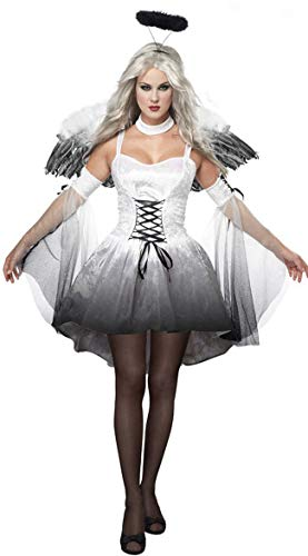 MTSBW Halloween Dark Angel Kostüm Spiel Uniform Vampir Braut Teufel Pack,White,M (White Angel Kostüm)