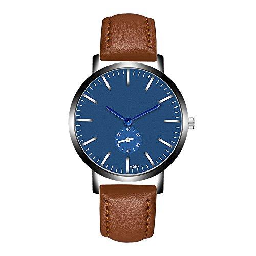 Jiameng orologio da polso, moda elegante orologio classico orologi analogici del quarzo della lega analogica della banda di cuoio di modo nuovi orologio da cintura k093-4 (marrone)