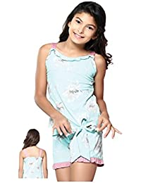Night Suit for Girls - Aqua Blue Color - Cotton Material - Printed Top and Shorts Set - Sleeveless Top - Available for 8/10/12/14 Year Old Girls - Casual wear for Kids