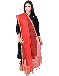 Mangal Art Silk Red Color Check Patern Dupatta For Girls And Women
