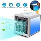 HNESS Portable Compact Air Cooler Fan Cool,Humidifies & Purifies Air with 7 Colors Changing Led Light for Home and Office Use
