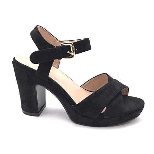 Angkorly - Damen Schuhe Pumpe Sandalen - Plateauschuhe - Offen - High Heels - gekreuzte Riemen - Basic - Basic Blockabsatz high Heel 9.5 cm - Schwarz 4 AB502 T 40 - High Heel 4