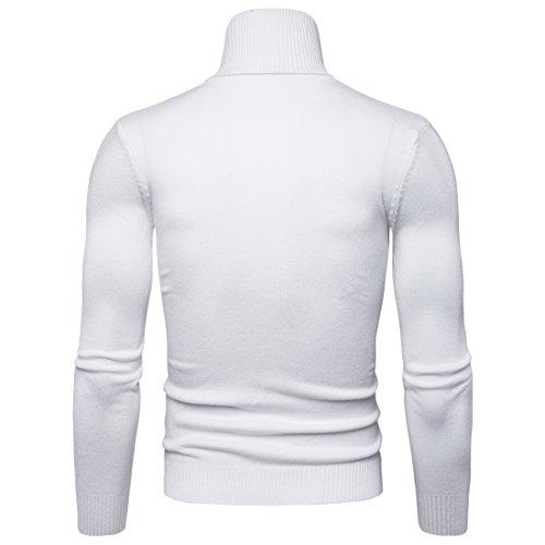 4ae2cc9afdc000 Maglione da Uomo Maglia Manica Lunga Dolcevita Collo Alto Maglia Bianco M