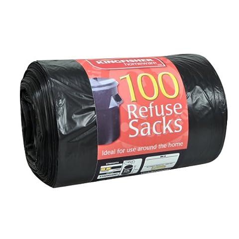 Kingfisher Quality Refuse Sacks, Black, 70 Litre, 100-Piece