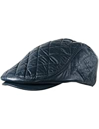 b0646686a83 Itzu Men s Quilted Check Flat Cap Hat Faux Leather Cabbie Newsboy Golf  Gatsby Lined Black Brown