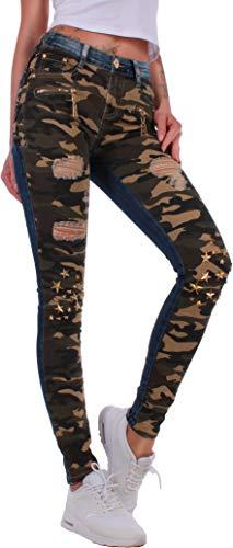 Army Jeans (Unbekannt Damen Jeans Hose Skinny Röhre Röhrenjeans Camouflage Army Tarn Risse Nieten Schnürung Blau (36/S, Blau/Tarn))