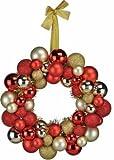 Bambelaa! Dekorativer Kranz aus Christbaumkugeln Türkranz Dekokranz verschiedene Farben (Rot / Gold)