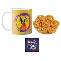"""YaYa Cafeâ""""¢ Holi Sweets Gift Combo Happy Holi with Kalash Mug, Coaster, Chandrakala - 1kg"""