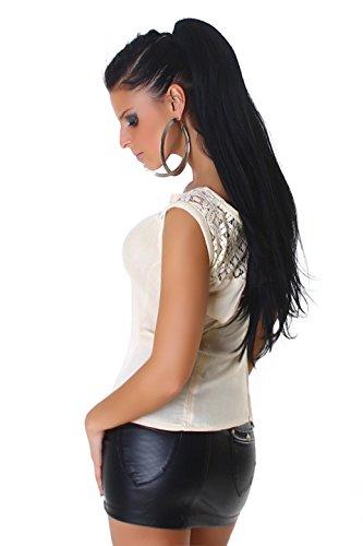 Jela London Damen Shirt T-Shirt aus Chiffon mit Spitze und Cutout verführerisch Beige