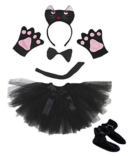 Petitebelle 3D Black Cat Headband Bowtie Gloves Tutu Shoes 6pc Girl Costume Set (One Size)