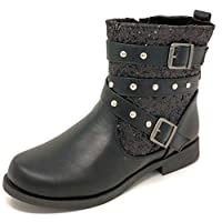 Girls Kids Childrens Glitter Buckle Ankle Boots Shoes Size 7-3