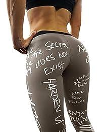 FELZ Mujer Pantalones de Impresión de Letras Leggings Mujer Yoga Deportivos Fitness Pantalones Largos