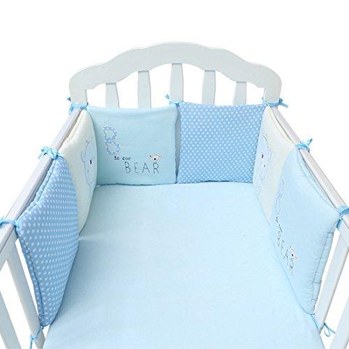 Jiyaru 30 x 30 cm Nestchen Bettumrandung Kopfschutz für Babybetten Baumwolle Blau