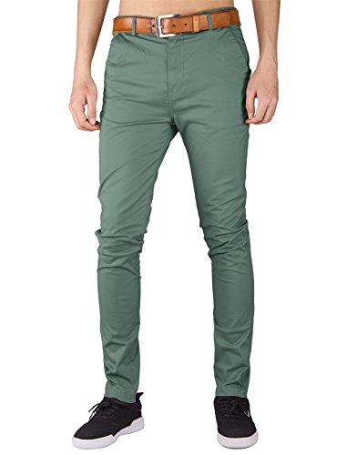 Italy morn uomo pantaloni chino slim marina militare regular fit (2xl, grigio verde)