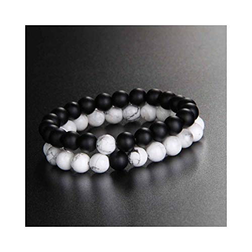 Awertaweyt Edelstein Perlen Armband 5 Style Natural Stone Beads Distance Bracelet Set Black White Stone Couple Braclet for Women Men Jewelry Homme Bisuteria White Turquoise Set