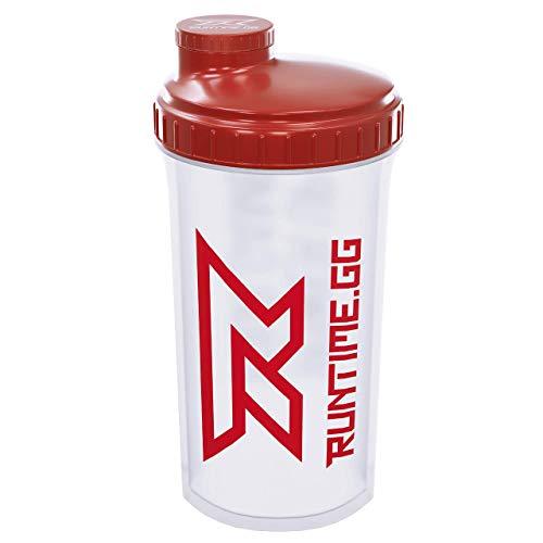Runtime Protein-Shaker | Sport-Flasche für Nutrition und Fitness | 700ml Fassungsvermögen | mit Sieb - 100% dicht | BPA-frei - inkl. Messskala - transparent (Red Transparent)