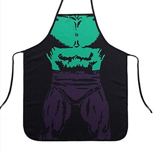 e Neuheit Karikatur Schürze Lustige Kellnerin Küche Grillschürze Kochen & Waschen Schürze (Hulk), Justierbare Taille Krawatten, Maschinenwaschbar, 28 X 23 Zoll (Hulk-kostüme Für Männer)