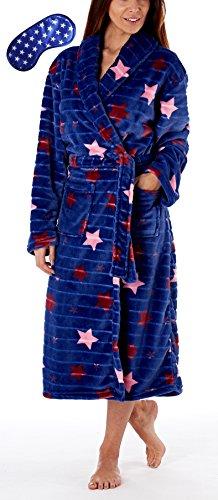 i-Smalls Frauen Schal Kragen Robe in gedruckten Jacquard-Streifen mit Stern Print Augenmaske (44-46) Navy Stern (Print-satin-robe)