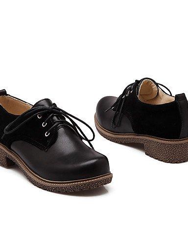 ZQ Scarpe Donna - Stringate - Tempo libero / Ufficio e lavoro / Casual - Chiusa / Cinturino alla caviglia - Quadrato - Finta pelle -Nero / , black-us10.5 / eu42 / uk8.5 / cn43 , black-us10.5 / eu42 /  almond-us9 / eu40 / uk7 / cn41