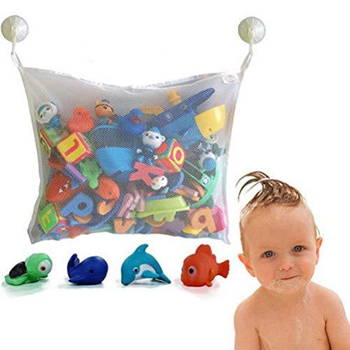 Baby Badespielzeug Aufbewahrungstasche Storage Mesh Tasche - Großes Netz-Badespielzeugnetz mit 2 starken Saugnäpfen für Glatte Oberflächen - für Kinder, Kleinkinder und Baby- und Dusch-Caddy