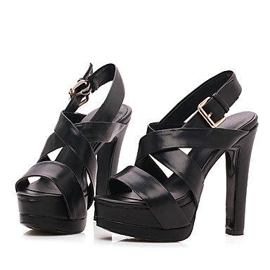 LvYuan Damen-Sandalen-Büro Kleid Party & Festivität-Schafspelz-Blockabsatz-Club-Schuhe-Schwarz Weiß Black