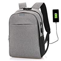 KKCD Anti-Theft Backpack,Laptop Backpack With USB Charger Port & Headphone Port & Lock,Water Resistant College School Computer Rucksack Fits For Men/Women 15.6 Inch Daypack (Color : Gray)