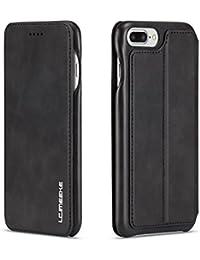 Funda iPhone 7, Funda iPhone 8 ,COOSTOREEU Funda Avanzada PU de Cuero Magnética Protectora con Ranura para Tarjeta,Negro