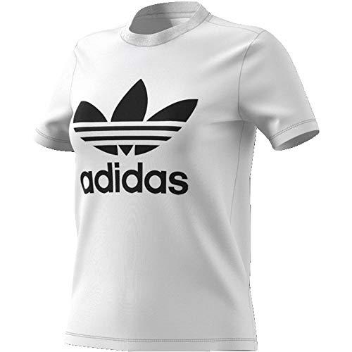 Adidas Trefoil, Camiseta mujer, Blanco Blanco/Negro