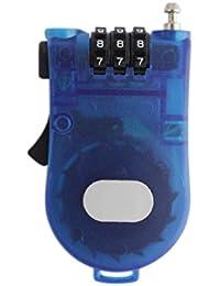 3-Feet Retractable Combination Cable Lock - Blue (LNTg228)
