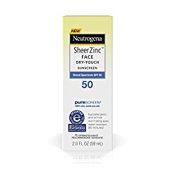 2 fl. Oz. , SPF 50 : Neutrogena Sheer Zinc Face Dry-Touch Sunscreen Broad Spectrum SPF 50, 2 Fl. Oz