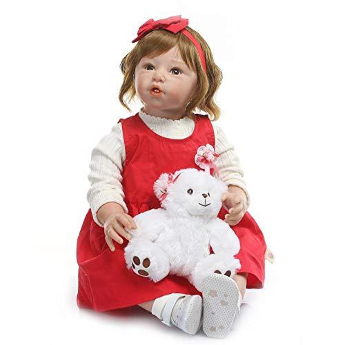 ohe Qualität Sanfte Berührung Große Größe Neugeborenes Kleinkind Prinzessin Mädchen Puppe Hergestellt in Silikon Vinyl und Gefüllte Stoff Körper Kind Xmas Geburtstagsgeschenk ()