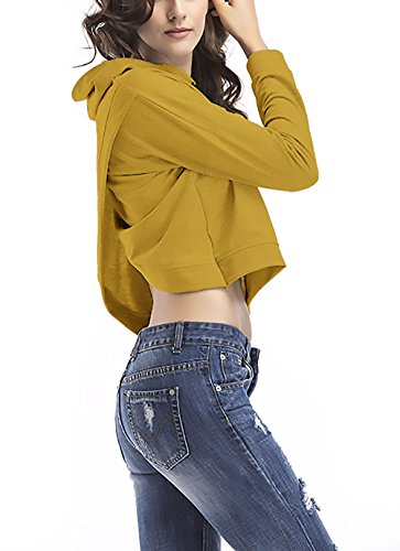 Felpa Donna Pullover Con Cappuccio Elegante Manica Lunga Asimmetrico Schienale Attraversare Sportiva Casual Sweatshirt Hoody Corto Moda Felpe Puro Colore Gialli