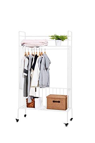 NEUN WELTEN Klassisch Kleiderschrank Garderobe auf Rädern mit Kleiderstange und Ablageflächen...