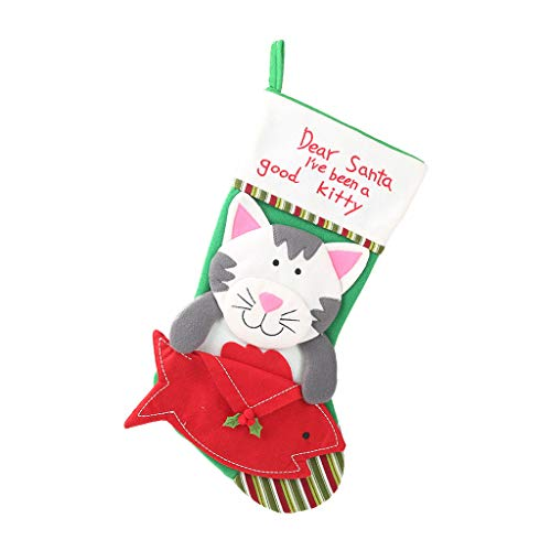 DEtrade Weihnachtsdekoration Weihnachtssocken Anhänger Kreative Neue Geschenktüte Hängen Dekorationsgegenstände Socken Baum Anhänger (B) (Katze Im Hut Familien Kostüm)