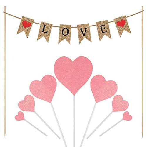 Fepito nozze cupcake toppers, amore torta topper e cuore rosa toppers cupcake per san valentino, fidanzamento, baby shower festa dolce decorazioni