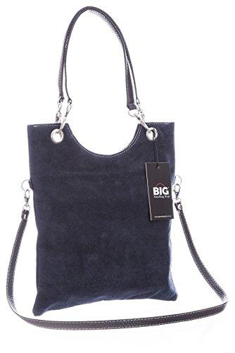 Big Handbag Shop in pelle scamosciata, Maniglia superiore sera frizione borsa a tracolla Navy (NL572)