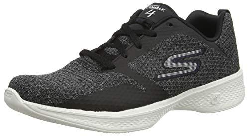 Skechers Go Walk 4-Desire, Zapatillas para Mujer, Negro Black Purple Bkpr, 38.5 EU