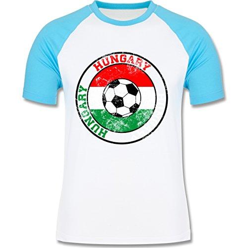 EM 2016 - Frankreich - Hungary Kreis & Fußball Vintage - zweifarbiges Baseballshirt für Männer Weiß/Türkis