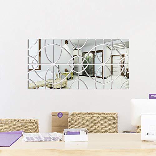 Adesivo Murale / (2 Set) Adesivo Acrilico Specchio/Moderna Decorazione Domestica/Soggiorno Staccabile Decorazione Camera da Letto,Argento